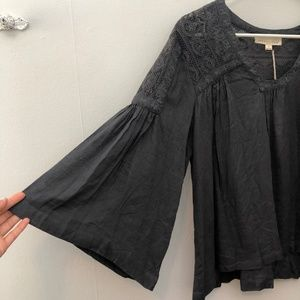 Love Stitch Gray Flowy Embroidered Boho style top